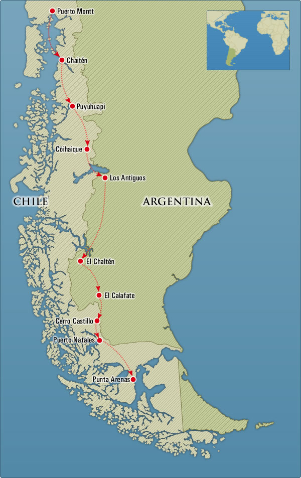 North and South Patagonia Map Trip